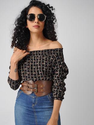 Black-Madder Block-printed Off-shoulder Cotton Top with Smocking