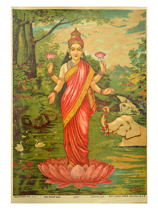 Raja Ravi Varma's Laxmi Lithograph on Paper- 14in x 10in
