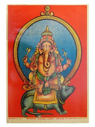 Raja Ravi Varma's Mushka Ganpati Lithograph on Paper- 14in x 10in