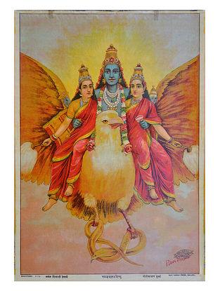 Raja Ravi Varma's Garud Vahan Vishnu Lithograph on Paper- 14in x 10in