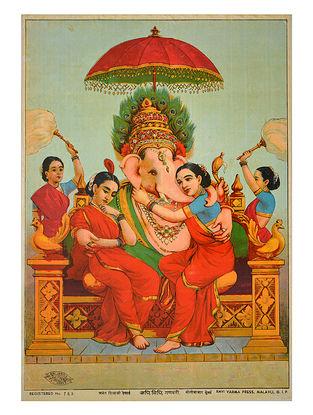 Raja Ravi Varma's Riddhi Siddhi Ganpati Lithograph on Paper- 14in x 10in