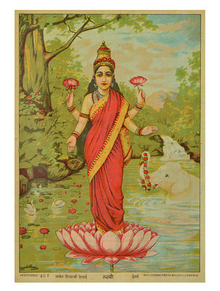 Raja Ravi Varma's Laxmi Lithograph on Paper- 10in x 7in