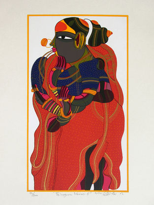 Thota Vaikuntam's Limited Edition Telangana Woman - V Serigraph on Paper - 20in x 14in