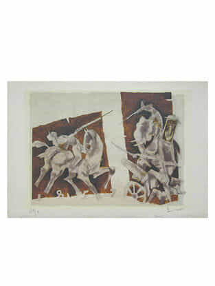 "M. F. Husain's Limited Edition ""Images of Raj - 1"" Reproduction on Paper - 14in x 20in"