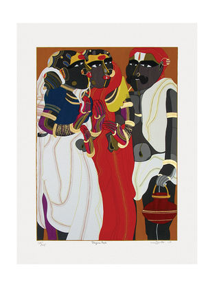 Thota Vaikuntams Limited Edition Telangana People Serigraph on Paper - 40in x 30in