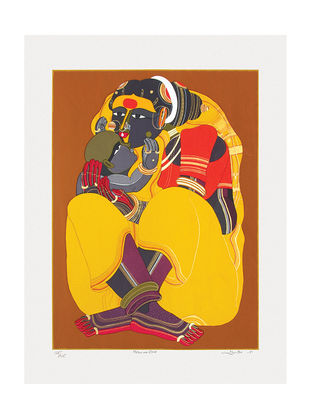 Thota Vaikuntams Limited Edition Mother and Child Serigraph on Paper - 40in x 30in