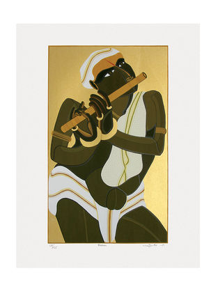 Thota Vaikuntams Limited Edition Krishna Serigraph on Paper - 40in x 30in