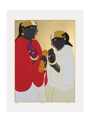 Thota Vaikuntams Limited Edition Panditas Serigraph on Paper - 40in x 30in