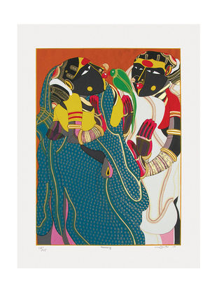 Thota Vaikuntams Limited Edition Gossiping Serigraph on Paper - 40in x 30in