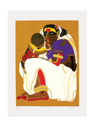 Thota Vaikuntams Limited Edition Mother and Child - II Serigraph on Paper - 40in x 30in