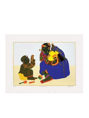 Thota Vaikuntams Limited Edition Mother and Child - III Serigraph on Paper - 30in x 40in
