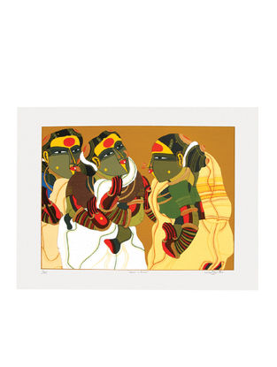 Thota Vaikuntams Limited Edition Women in Gossip Serigraph on Paper - 30in x 40in