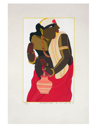 Thota Vaikuntams Limited Edition Telangana Pandit - IV Serigraph on Paper - 20in x 14in