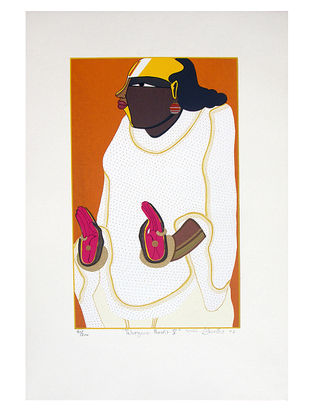 Thota Vaikuntams Limited Edition Telangana Pandit - V Serigraph on Paper - 20in x 14in