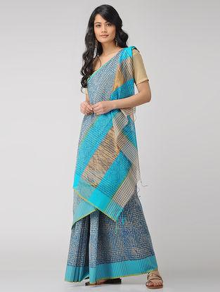 Blue Block-printed Maheshwari Saree with Zari