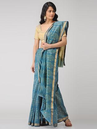 Blue-Beige Block-printed Maheshwari Saree with Zari
