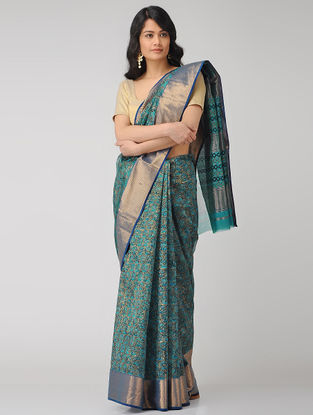 Blue-Black Block-printed Maheshwari Saree with Zari