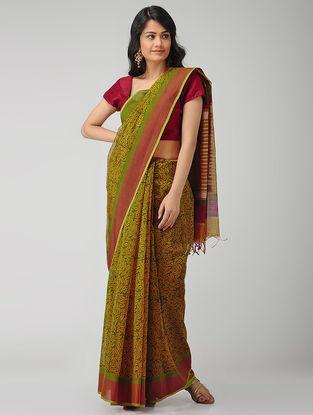 Green-Yellow Block-printed Maheshwari Saree