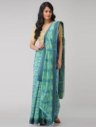 Blue-Green Block-printed Maheshwari Saree