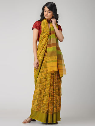 Yellow-Green Block-printed Maheshwari Saree
