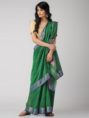 Green-Blue Block-printed Maheshwari Saree with Zari