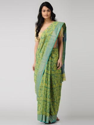 Green-Yellow Block-printed Maheshwari Saree with Zari