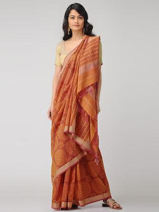 Orange-Yellow Block-printed Maheshwari Saree with Zari