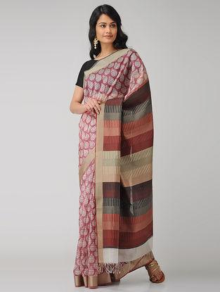 Pink-Ivory Block-printed Maheshwari Saree
