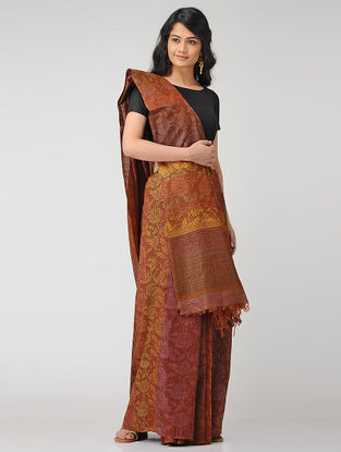 Brown-Yellow Block-printed Tussar Silk Saree