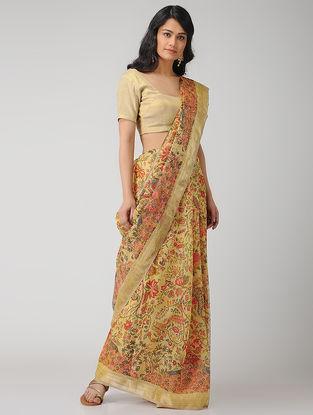 Yellow-Pink Printed Linen Saree with Zari