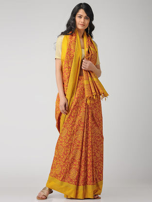 Yellow-Red Block-printed Maheshwari Saree with Zari