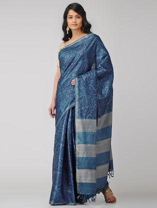 Blue-Grey Block-printed Tussar Silk Saree
