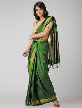 Green Block-printed Maheshwari Saree with Zari