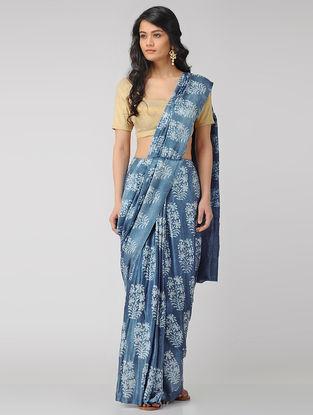 Blue-Ivory Block-printed Gajji Silk Saree with Zari