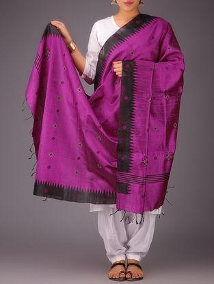 Fuschia-Black Tussar Silk Kasuti Embroidered Dupatta