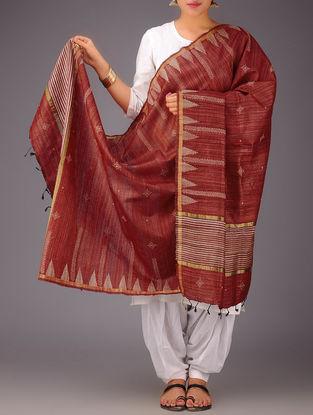 Red-Beige Tussar Silk Kasuti Embroidered Dupatta