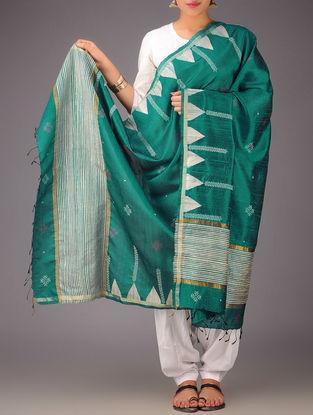 Green-Beige Tussar Silk Kasuti Embroidered Dupatta