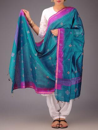Sky Blue-Fuschia Tussar Silk Kasuti Embroidered Dupatta