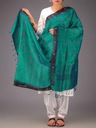 Green-Black Tussar Silk Kasuti Embroidered Dupatta