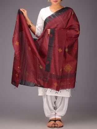 Red-Black Tussar Silk Kasuti Embroidered Dupatta