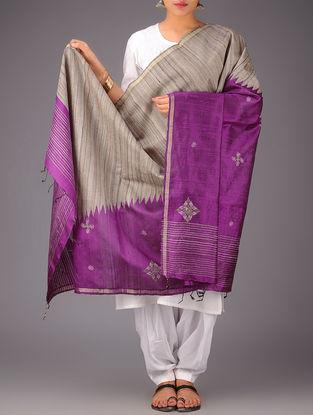 Purple-Beige Tussar Silk Zari Kasuti Embroidered Dupatta