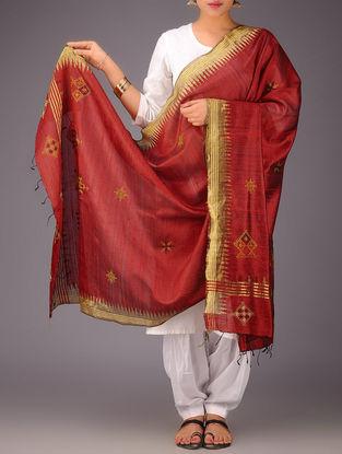Red-Golden Tussar Silk Zari Kasuti Embroidered Dupatta