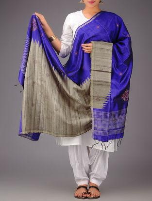 Blue-Beige Tussar Silk Zari Kasuti Embroidered Dupatta