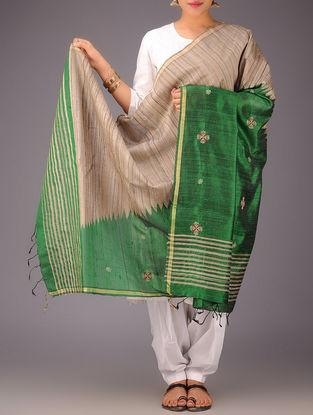 Green-Beige Tussar Silk Zari Kasuti Embroidered Dupatta
