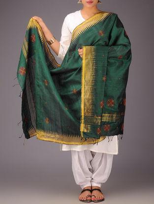 Green-Golden Tussar Silk Zari Kasuti Embroidered Dupatta