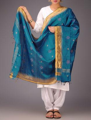 Blue-Golden Tussar Silk Zari Kasuti Embroidered Dupatta