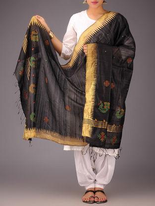 Black-Golden Tussar Silk Zari Kasuti Embroidered Dupatta