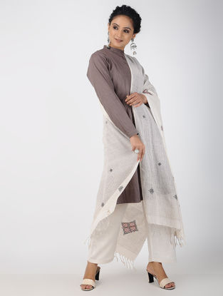 Ivory Kasuti Embroidered Cotton Dupatta