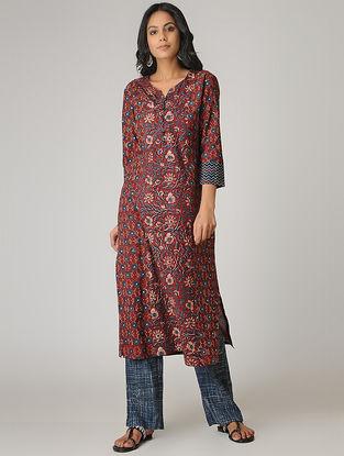 Maroon Ajrakh-printed Paneled Cotton Kurta