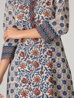 Ivory-Blue Ajrakh-printed Paneled Cotton Kurta